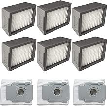 IOTdou 6Pc Accessories Filters & 3Pc Dirt Disposal Bags For Irobot Roomba I7 I7 I7 Plus E5 E6 E7 Grey
