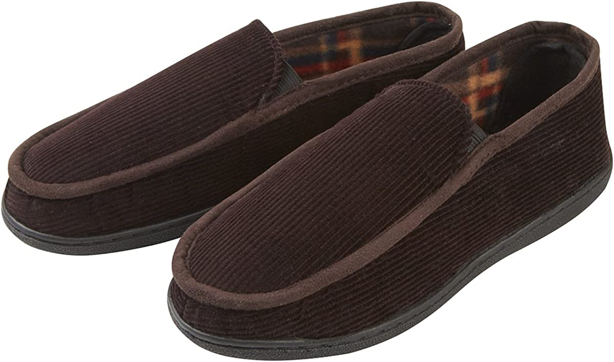 Comfortable House Shoes Assorted Colors Mens Corduroy Memory Foam Slipper