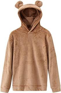 Womens Oversized Warm Double Fuzzy Hoodies Casual Loose Pullover Hooded Sweatshirt Outwear Bear Ears Shape LIM&Shop
