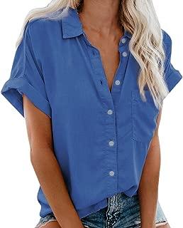 〓COOlCCI〓Women's Summer Half Sleeve Dip Hem Plain Pocket T-Shirt Blouse Crop Top Loose Front Button Shirts