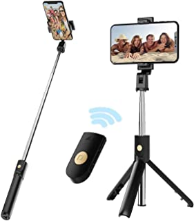 Selfie Stick Tripod with Removable Wireless Bluetooth Remote Shutter Compatible,Mini Pocket Selfie Stick for iPhone 11/XR/...