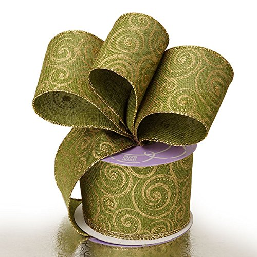 2 1/2'X10 Yards Green/Gold Stormy Night Christmas Wired Ribbon