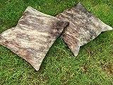 Meshnew - Funda de cojín de piel de vaca, color gris