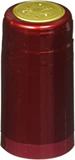 PVC Heat Shrink Capsules with Tear Tabs for Wine Bottles - 60 Count (Metallic Solid Ruby Red)