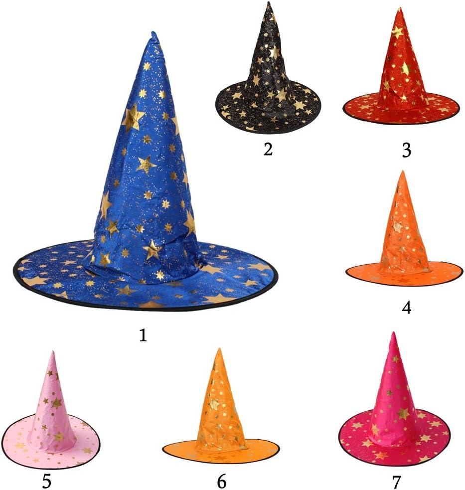 35cm Blau joyMerit Zaubererhut Hexenhut Spitzen Hut Halloween Kost/üm Hat Kinder 37cm 18cm