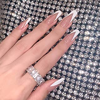 Poliphili 24Pcs Super Long Gradient Press on Removable Wear Fake Nails Ballerina Extra Long Coffin Art Manicure Full Cover...