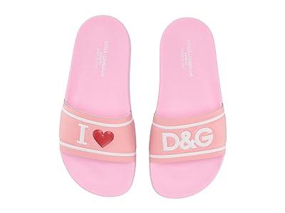 Dolce & Gabbana Kids Slides (Little Kid/Big Kid) (Pink/Silver) Girl