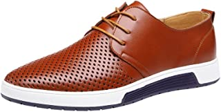 Mens Hollow Leather Shoes,Realdo Men's Lightweighr Breathable Business Leisure Hollow Lace Up Shoes
