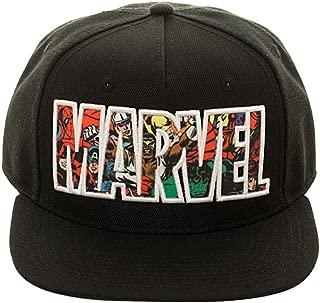 Marvel Comic Logo Sublimated Bill Snapback Cap Hat Black