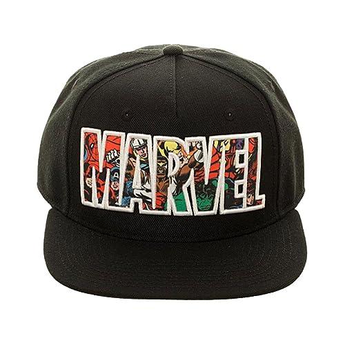 d6c5aa12 Bioworld Marvel Comic Logo Sublimated Bill Snapback Cap Hat Black