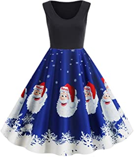 Women's Cocktail Dresses Vintage Sleeveless Christmas Print Evening Party Prom Dress