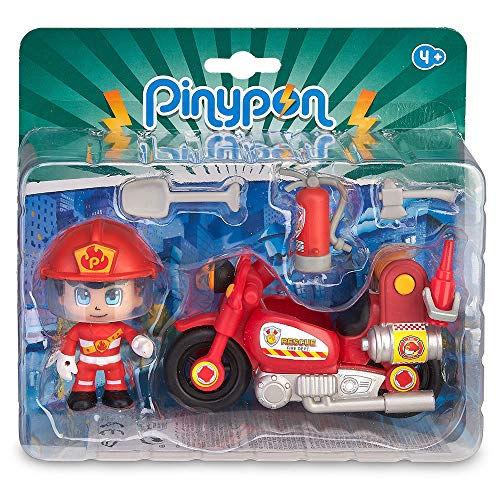 Pinypon Action - Moto de Bombero con 1 figurita, para niños y niñas de 4 a 8...