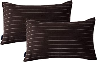 JES&MEDIS 2-Pack Cotton Throw Pillow Covers Oblong Pillow Cases Cushion Cases Stripe Pattern Sofa Pillow Covers or Living Room, Couch and Bed, 12 x 20 Inch, Dark Brown