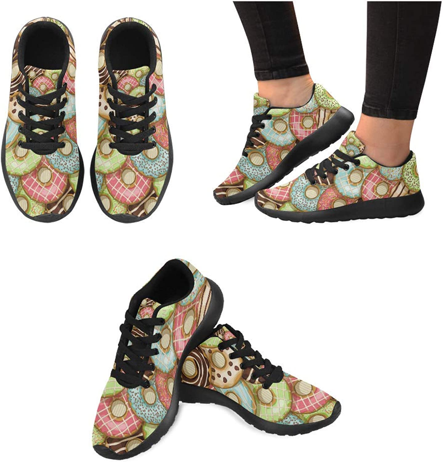 Women Lightweight Casual Sneaker Running shoes Donuts Pattern Prints