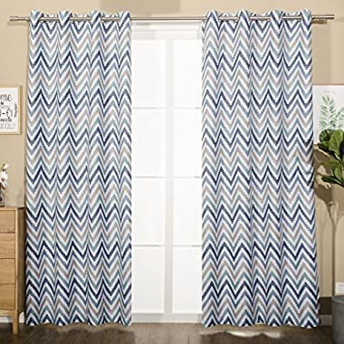 Mangata Casa Blocking Energy Efficient Chevron Insulated Blackout Drapes Printed Window Curtains for Living Room 240gsm(Blue,52x84in 1 Panel)
