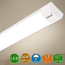 Luz de tubo LED, Airand 120CM 36W LED IP66 Luminaria de Taller 4000K Luz de Techo Impermeable Lámpara LED Blanco Natural para Garaje Oficina Supermercado Bodega Departamento Departamento Baño Cocina