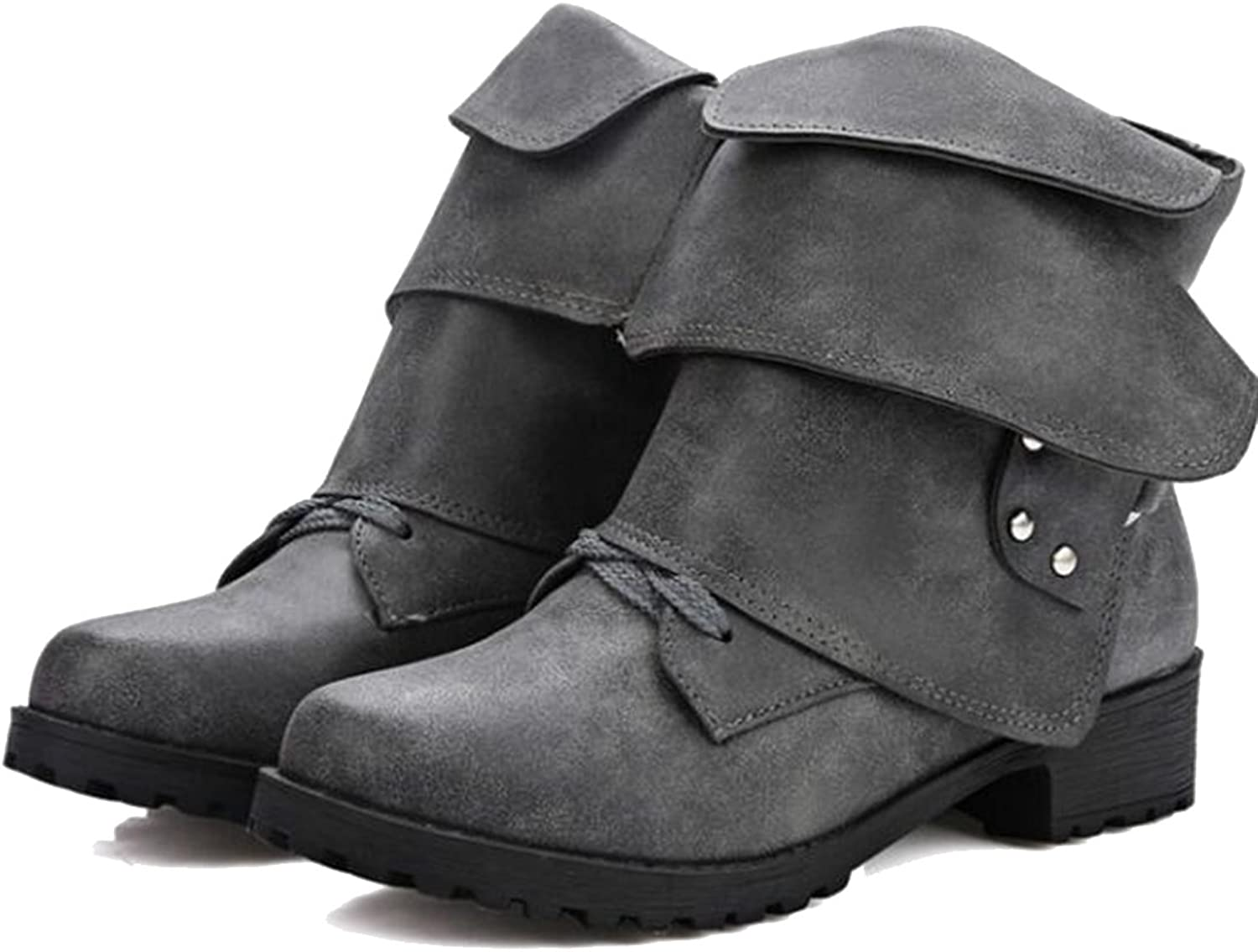 COVOYYAR Women's Vintage Rivet Buckle Lace Up Round Toe Ankle Boots Flat shoes