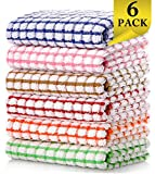 LAZI Kitchen Dish Towels, 16 Inch x 25 Inch Bulk Cotton Kitchen Towels Set, 6 Pack Dish Cloths for Washing...