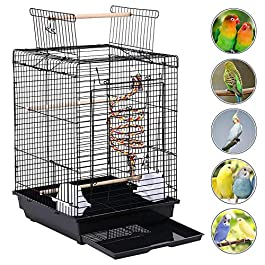 Yaheetech Open Top Bird Cage For Budgie Lovebirds Green Cheek Canary Parakeet Cockatiel Small Parrot Travel Cage 58 cm High