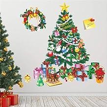 zhengboasd Merry Christmas Tree Gift Pegatinas De Pared Sala De Estar Dormitorio Tatuajes De Pared Navidad Año Nuevo Ventana Regalo Decoración para El Hogar Mural Poster 70x70cm