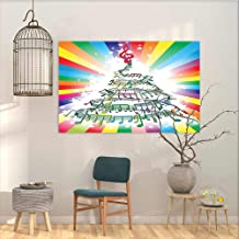 Abstract Oil Paintings Sticker Music Colorful Music Notes as Christmas Tree with Rainbow Background New Year Party Theme Office Art Decoration Multicolor W23 xL15