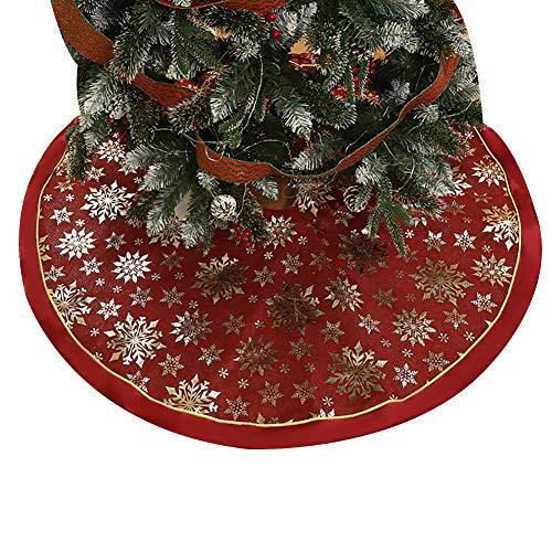 Lai-LYQ 120cm Runder Weihnachtsbaum Rock, Schneeflocke Drucken Weihnachtsbaumdecke Schutz vor Tannennadeln zum Zuhause Geschäfte Hotels Weihnachtsdekor Golden