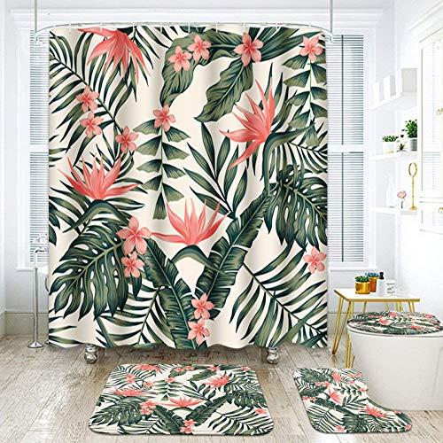 "ArtSocket 4 Pcs Shower Curtain Set Beach Cheerful Tropical Dark Green Leaves Palm Trees Flowers Bird Paradise with Non-Slip Rugs Toilet Lid Cover and Bath Mat Bathroom Decor Set 72"" x 72"""