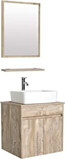 """eclife 24"""" Bathroom Vanity Sink Combo Wall Mounted Natural Cabinet Vanity Set White Ceramic Vessel Sink Top, W/Chrome Faucet, Pop Up Drain & Mirror (T03E03AK)"""