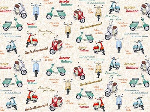 Möbelstoff Scooter Soft Farbe 10 (bunt, farbenmix, Druck, bedruckt) - moderner Digitaldruck (gemustert, Vespa, Roller) Polsterstoff, Stoff, Bezugsstoff, Eckbank, Couch, Sessel, Hussen, Kissen