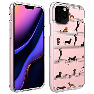Dachshund Music Transparent Phone Case Compatible for Apple iPhone 11 Pro Max [6.5inch]