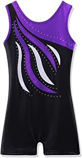 BAOHULU Leotard for Toddler Girls Gymnastics Shorts Sparkle Embroidery Tank Biketards One Piece