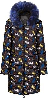 URIBAKE Womens Winter Down Jacket Fashion Zipper Print Long Thicken Down Cotton Hooded Coat Outwear