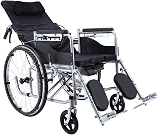 Transport Wheelchair Manual Wheelchair Folding Elderly Lightweight Wheelchair Free Inflatable Can Be Semi-Lying Full Lay Toilet Seat Wheelchair Attendant Trolley Can Bear 100kg Attendant Wheelchairs