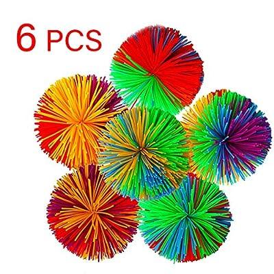 Weierken 6-Pack Monkey Stringy Balls, Soft Active Sensory Toys, Colorful Bouncy Ball/ Rainbow Pom Ball/ Squeeze and Stress Balls/Fun Fidget Toys