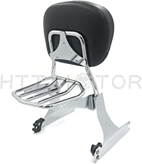 HTTMT Sissybar & Rack For 2006-2019 Harley Dyna Detachable Passenger Backrest Chrome [P/N: SBB029+P]