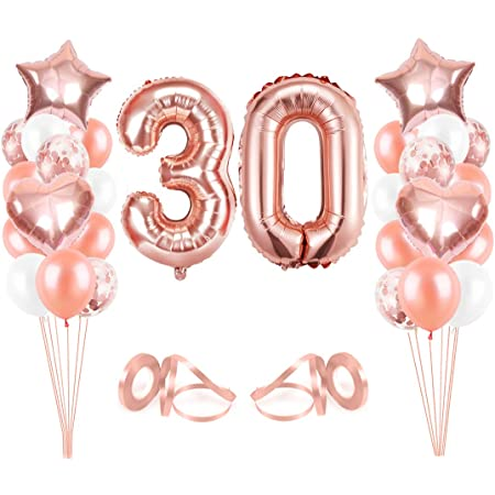 Bluelves Luftballon 30 Geburtstag Rosegold Geburtstagsdeko Frau 30 Jahr Happy Birthday Folienballon Deko 30 Geburtstag Frau Riesen Folienballon Zahl 30 Ballon 30 Deko Zum Geburtstag Küche Haushalt