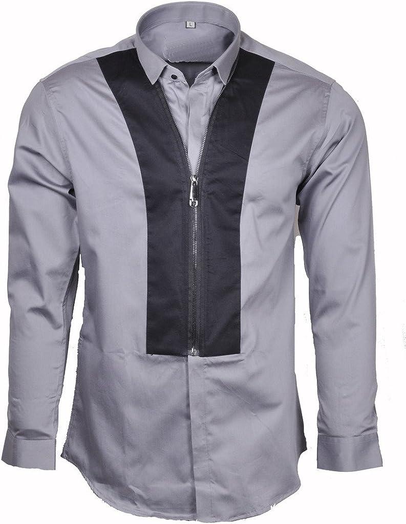 GothikShop Men's Casual Satin Cotton Contrast Slim Fit Button Down Shirt Paisley Long Sleeve Dress Shirt Large Size Gray