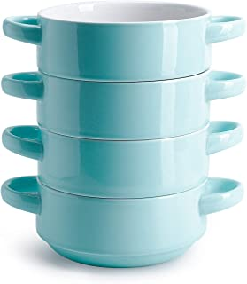 Sweese 108.102 Porcelain Bowls with Handles - 20 Ounce for Soup, Cereal, Stew, Set of 4, Turquoise