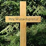 LASERfein Grabkreuz, Holzkreuz, Unfallkreuz 100x45cm, massiv Eiche mit Gravur Beschriftung Gravur Name + Daten