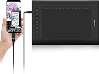 HUIONペンタブレットINSPIROY 携帯接続アップグレード可能、H610PROV2傾き検知機能付き 筆圧8192充電不要ペン、最新ドライバ、10*6インチ作業領域 8個のショートカット