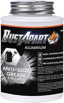 Aluminum Anti Seize Lubricant | Aluminum Grease | Brake Grease Pins & Cams | Spark Plugs | Thread Compound | Bolt & Screw Lube | High Temp | Automotive | Never Seize Paste | 8 Oz Brushtop | Bustapart: image