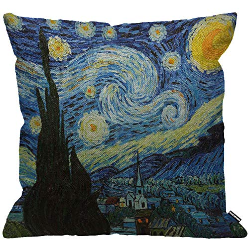 HGOD DESIGNS Cushion Cover Van Gogh Arts Starry Night Throw Pillow Cover Home Decorative for Men/Women/Boys/Girls living room Bedroom Sofa Chair 18X18 Inch Pillowcase