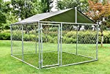 MAGIC UNION Heavy Duty Large Dog Cage Metal Outdoor Pet Playpen Wire Kennel with Water-Resistant Cover Roof Backyard Dog Run House