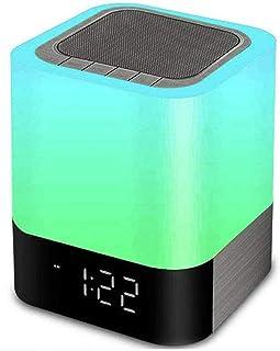 $25 » Bluetooth Speaker Night Lights, 5 in 1 Bedside Lamp with Bluetooth Speaker, 12/24H Digital Calendar Alarm Clock, Touch Con...