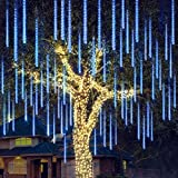 Christmas Meteor Shower Lights Falling Rain Drop Icicle String Lights 240 LEDs 8 Tube 30cm/12inch for Christmas Holiday Party Home Patio Outdoor Decoration (Blue)