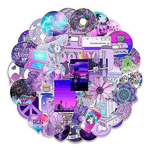 MARSFORCE Schöne Mädchen LiLa Aufkleber für Wasserflaschen Wasserdicht Vinyl Stickers für Laptop Skateboard Auto Motorrad Fahrrad Gitarre PS4 Koffer Snowboard iPhone iPad DIY Party [50 Stück Pack]