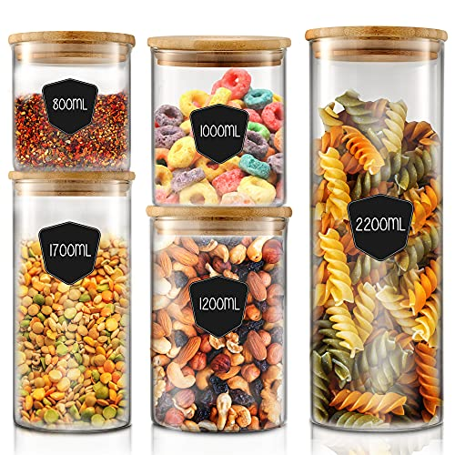 Twinzee - Vorratsdosen Glas mit Deckel Aufbewahrungsdosen Set 5 Größen (von 800mL bis 2,2L) luftdichte Frischhaltedosen klein und groß, plastikfrei, Lebensmittel Vorratsbehälter Glas mit Bambusdeckel