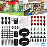 NASUM Drip Irrigation System, 42m/138ft Drip Irrigation Kit with Adjustable Misting Nozzles& Drippers Automatic DIY Irrigation System for Garden, Greenhouse, Patio, Lawn, Upgrated Irrigation Tubing