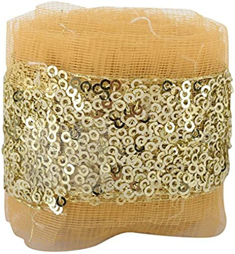 Fashion Sequence Net Laces for Dresses Sarees Lehenga Suits caps Bags Decorations Borders Crafts Any Many More Pack of 4 25 Meters