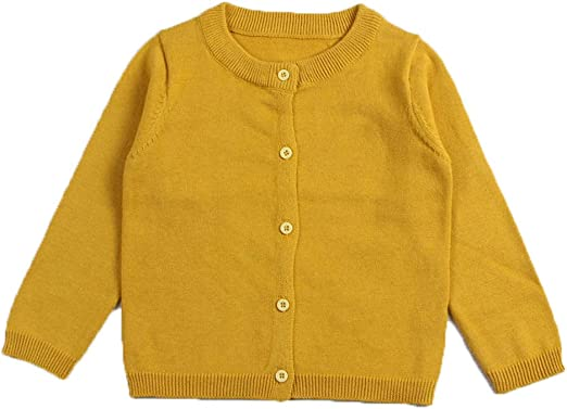 CONGMI Little Girls Long Sleeve Button Uniform Cardigan Toddler Sweater Shrug